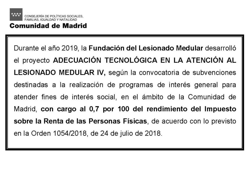 Proyectos desarrollados bajo la subvención para fines de interés social (0,7% IRPF)
